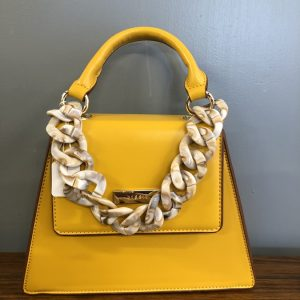 Bessie Yellow bag with shell chain strap