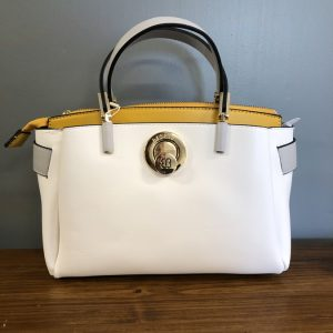 Bessie White bag with yellow inside