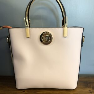 Bessie white bag with black sides and yellow zip