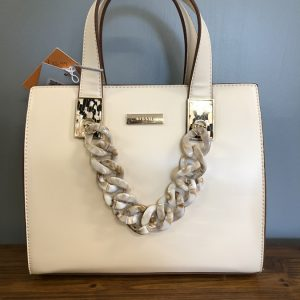 Bessie cream bag with shell chain strap