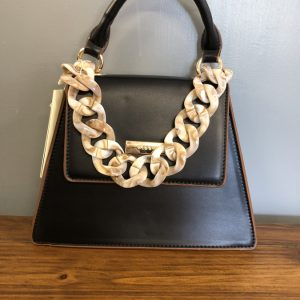 Bessie small black faux leather bag with shell chain strap