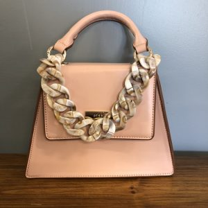 Bessie small pink bag with shell chain strap