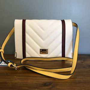 Bessie white padded embellish square bag with yellow strap and red lines