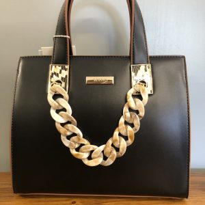 Bessie medium faux leather bag with shell chain strap black