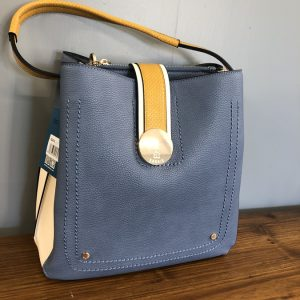 Bessie blue bag with yellow strap and white sides