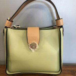 Bessie green faux leather with brown handle