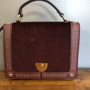 Bessie red bag with gold studding and with short and long handle