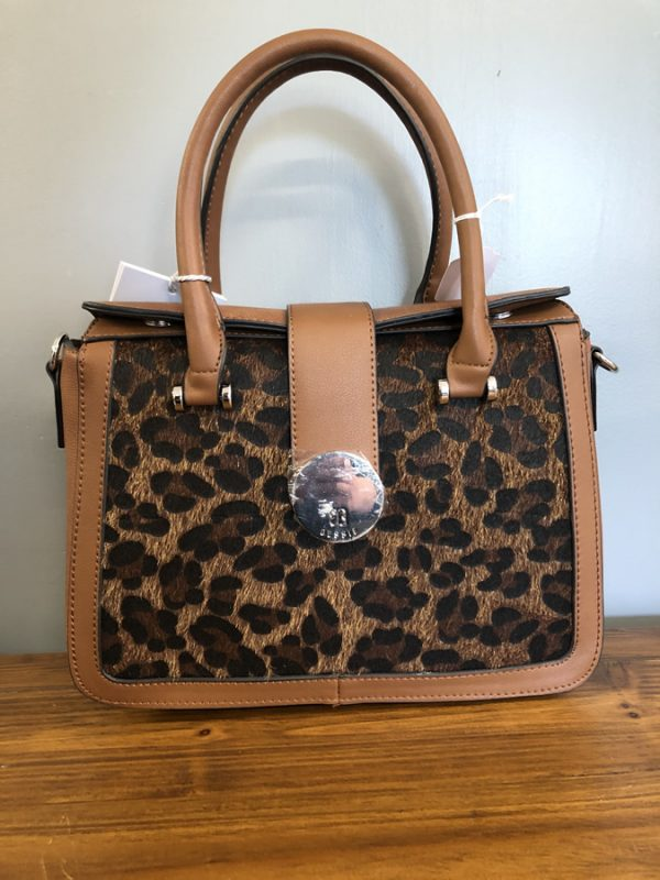 Bessie brown bag with leopard print front