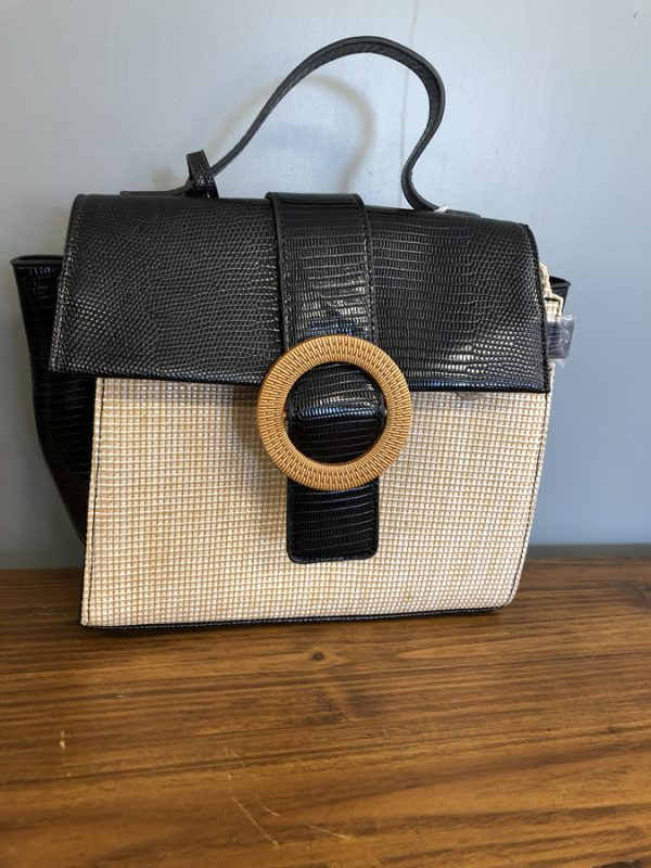 Bessie back and cream hessian texture bag with shell buckle