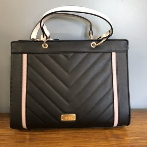 Bessie Black Faux leather bag with diagonal stitching and cream strap
