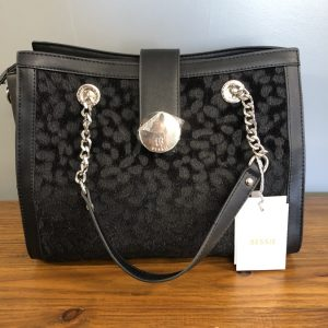 Bessie Black Faux leather bag with leopard print embellishment and chain strap