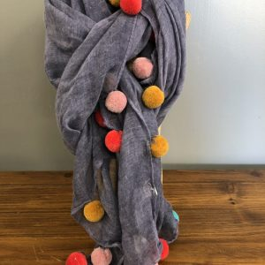 Blue multi coloured pompom scarf