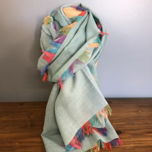 Duck egg multi coloured frill scarf