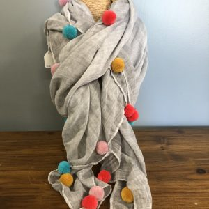 Grey multi coloured pom pom scarf