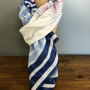 Blue, white and grey striped scarf