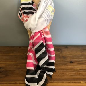 Lime green, black, grey, white and pink striped scarf