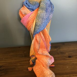 Pink, orange & blue tie die effect scarf