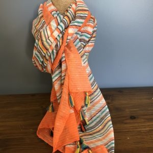 Orange and rainbow striped scarf