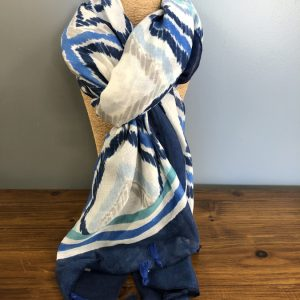 3 shade blue striped scarf