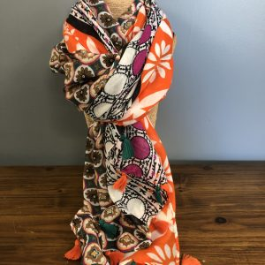 Brown mosaic patterned scarf